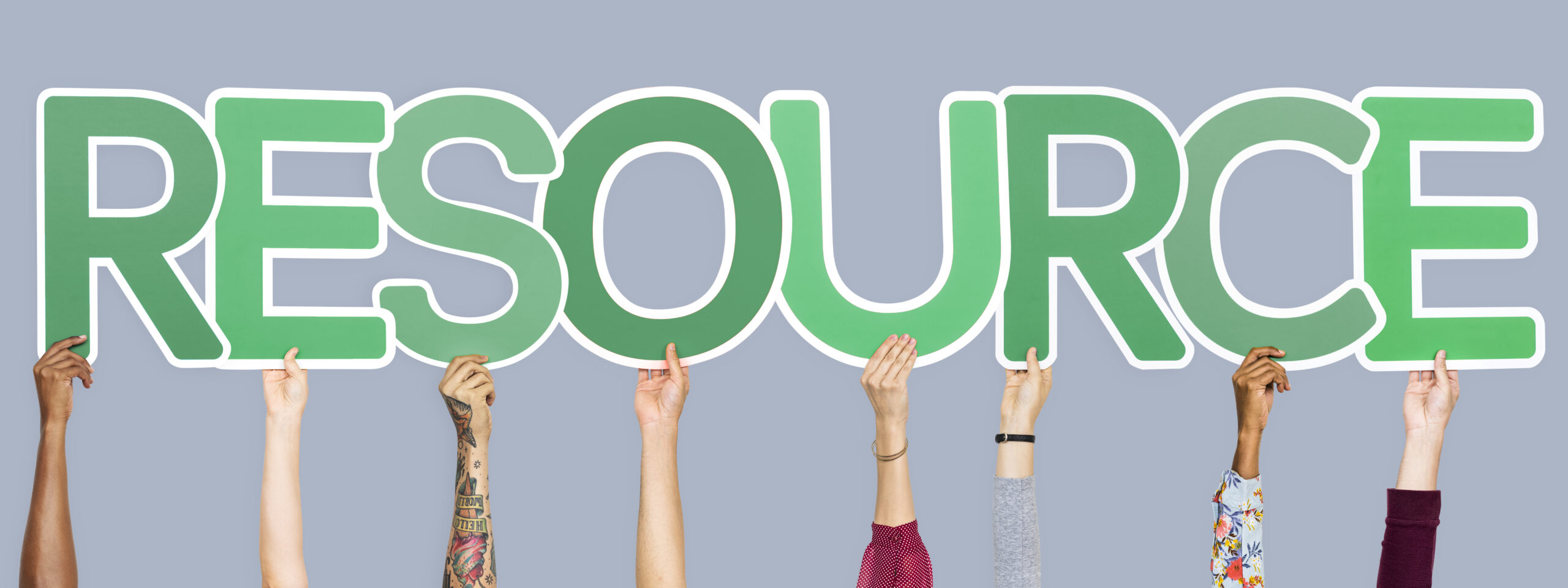 Green letters forming the word resource
